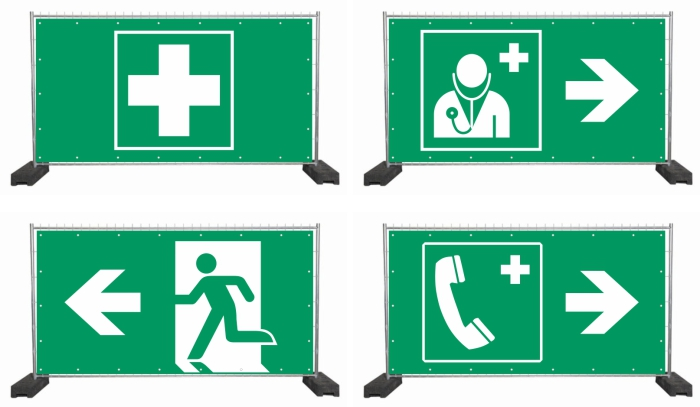 Bauzaunplanen mit Rettungssymbolen